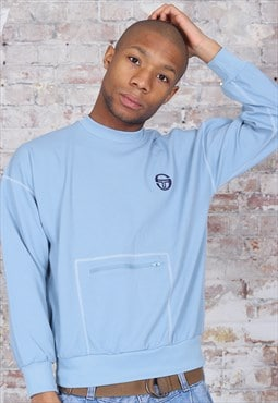 Vintage Sergio Tacchini Embroidered Logo Sweatshirt Blue
