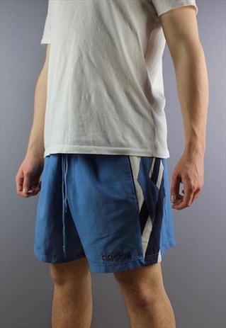 VINTAGE ADIDAS SHORTS IN BLUE WITH POCKETS, EMBROIDERED LOGO