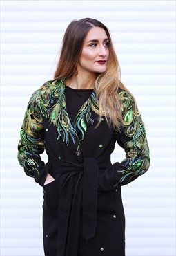 Green Peacock sequin lace decorated Black Trench Coat
