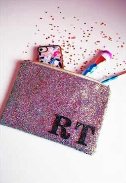 Monogram Glitter Clutch Bag in Purple Rainbow