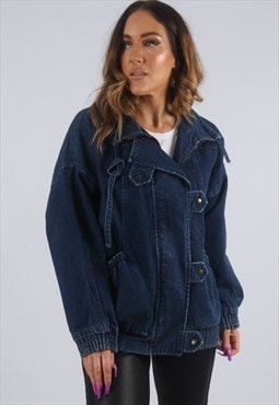 Vintage Denim Bomber Jacket UK S 10 (KBB)