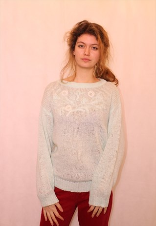 80S PALE GREEN BEADED JUMPER