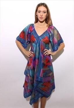 vintage 70s hawaiian printed caftan maxi dress L XL
