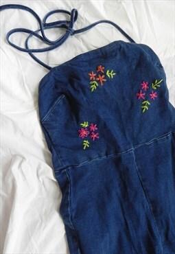 Reworked 90's Hand Embroidery Halter Neck Denim Jumpsuit