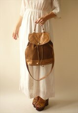 1980's Vintage Suede & Leather Drawstring Shoulder Bag