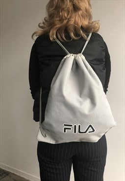 Y2K Vintage Grey Drawstring Fila Backpack
