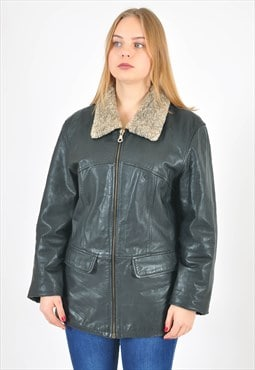 Vintage real leather jacket in black