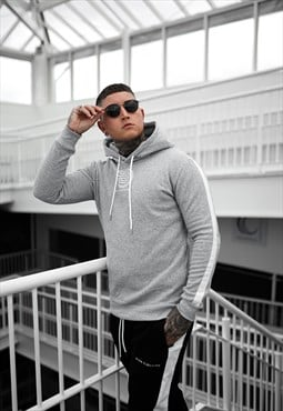 Grey hoodie with white tapered sleeve