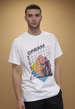 Short Sleeved T-shirt White With Abstract Vapourwave Print