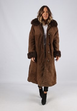 Sheepskin Suede Hooded Shearling Coat Long UK 12 (LJ4G)