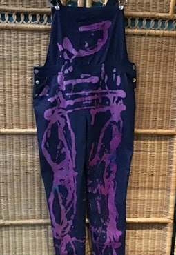 Denim bleach tiedye purple brights boho festival