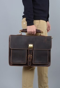 Vintage Look Leather Briefcase