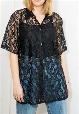 Vintage Oversized lace blouse in Black with short sleeves