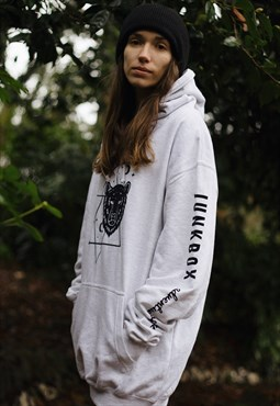 Pullover Hoodie in Grey with velvet Outsiders graphic print