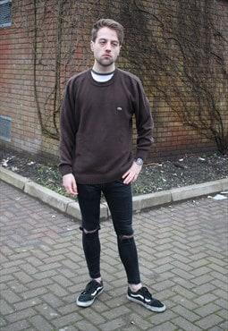 Brown Lacoste Knit Sweatshirt