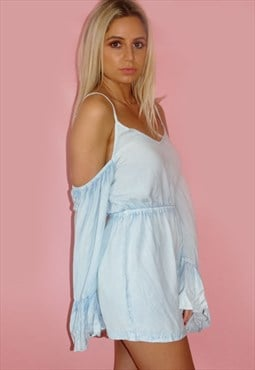 Cut Out Shoulder Denim Playsuit