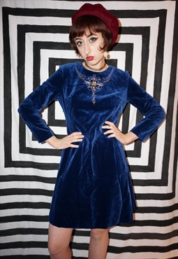 Vintage 70s Blue Velvet Dress With Beading and Embroidery