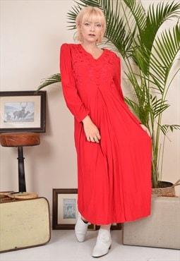 Vintage 80s V Neck Long Sleeve Midi Dress Red
