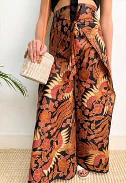 Handmade Oriental Dragon Print Wrap Around Trousers