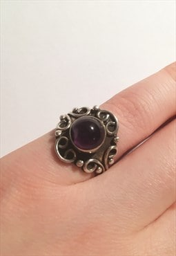 Womens Vintage ring boho aztec purple gem 925 silver ring