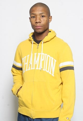 VINTAGE CHAMPION FULL ZIP LOGO SWEATSHIRT HOODIE YELLOW