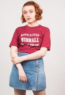 Vintage 80's Burgundy Print T-Shirt