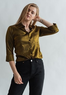 Vintage 90s grunge party shirt in golden satin