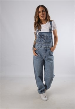 Vintage Denim Dungarees Wide Tapered Leg UK S 10 (93N)