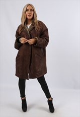 Vintage Sheepskin Leather Shearling Coat Mid UK 16 XL (J3B)