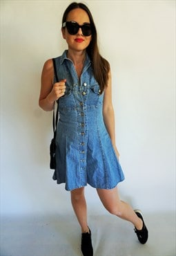 Vintage Midi Mini Denim Dress Dresses Dark Sarafan Overall