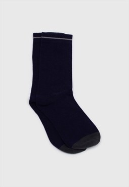 Navy and charcoal colorblock long socks