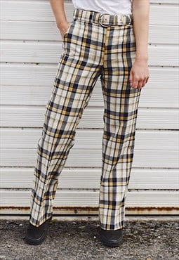 Vintage 70s Check Flared Trousers Pastel Yellow
