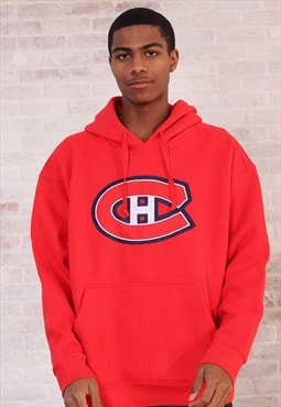 Vintage NHL Big Embroidered Logo Hoodie Red