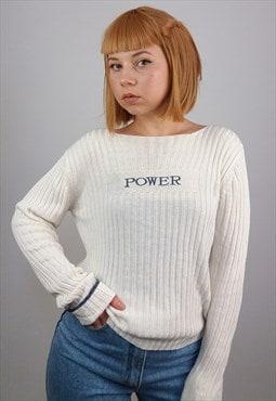 Vintage 90's 'Power' Logo Ribbed Soft Knit Top / Jumper
