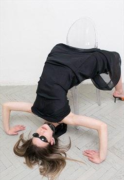 Vintage Dress Black Evening Maxi Slip Sleeveless Sheath