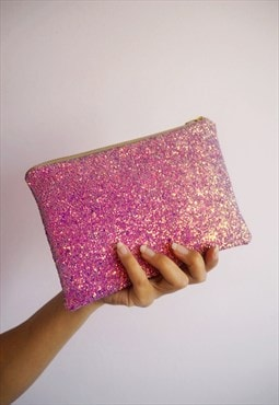 Purple Glitter Makeup Bag