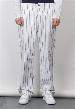 Vintage 90's Versace white striped trousers