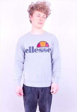 Vintage Ellesse Spell Out Sweatshirt in Grey Medium