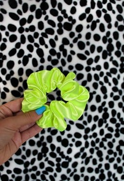 Neon Yellow Satin Hair Band Scrunchie