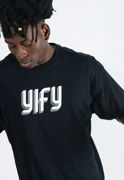 YIFY t-shirt in black with geo logo.