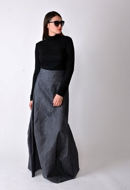 Denim Skirt Asymmetrical Jean Skirt Casual Long Skirt F1847