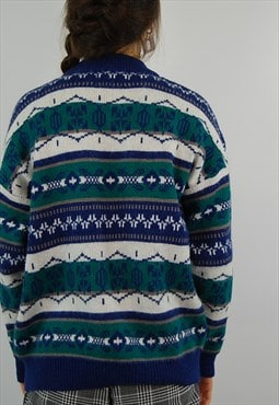 Vintage multi colour aztec pattern wooly Sweater Jumper
