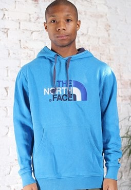 Vintage The North Face Big Embroidered Logo Hoodie Blue