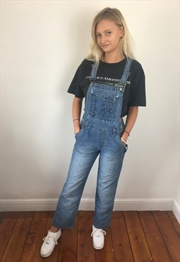 Vintage 90s Full Length Long Dungarees Light Blue S