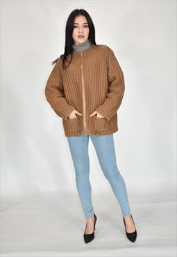 VINTAGE style crochet wool zip sweather brown