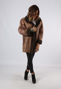 Sheepskin Leather Shearling Coat UK 16 (A9BO)