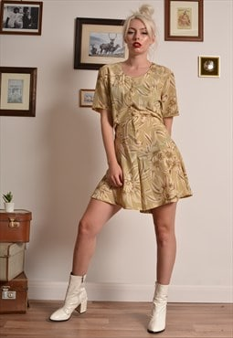 Vintage 80s Button Playsuit in Beige Floral Print