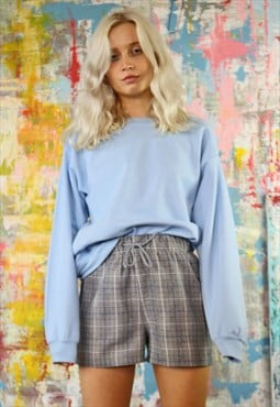 Grey Check Shorts & Baby Blue Sweat Co-Ordinates