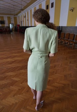 90s Pistachio Skirt Suit