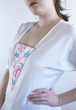 Womens Vintage 70s blouse abstract embroidered boho top